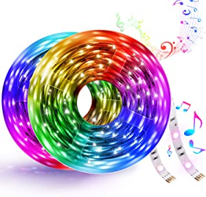 32.8FT LED Strip Lights, Smart WiFi LED Strip Light Works with Alexa and Google Home, Colorful RGB LED Light Strip, Music Sync LED Strip Kit Tape Lights with APP Control and 300LEDs for DIY, TV, Party