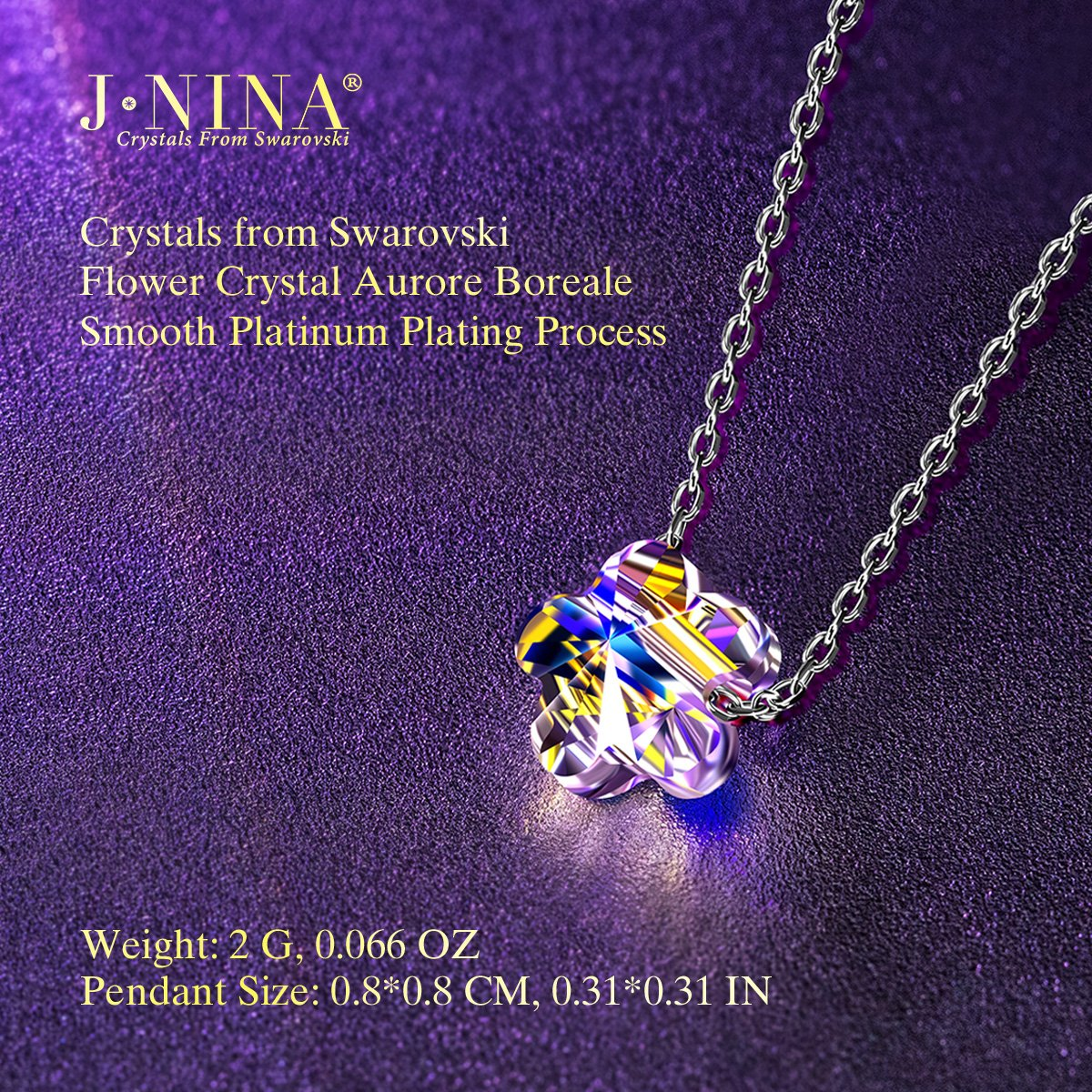 Amazon.com: J.NINA 925 Sterling Silver Rainbow Flower Chain with Aurora  Borealis Crystals from Swarovski, Lucky Pendant Necklace Birthday  Anniversary ...