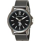 u.s. polo assn. clásico para hombre aleación de metal y de cuarzo reloj, color: negro (modelo: usc80384)