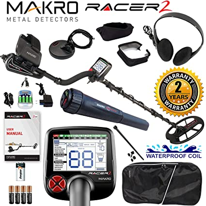 Amazon.com : Makro Racer 2 Metal Detector Pro Package 2 Waterproof Coils, Extras & Pinpointer : Garden & Outdoor