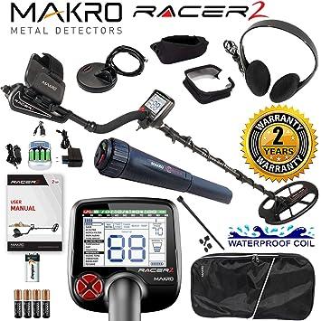 Amazon.com : Makro Racer 2 Metal Detector Pro Package 2 Waterproof Coils, Extras & Pinpointer : Garden & Outdoor