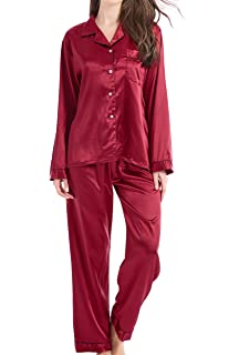 27edd5553c LONXU Womens Silk Satin Pajamas Set Sleepwear Loungewear XS~3XL ...