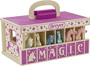 """Breyer Horses Unicorn Magic Wooden Stable Playset with 6 Unicorns   6 Piece Playset   6 Stablemates Unicorns Included   6"""" H x 9"""" L x 2.5"""" D   1:32 Scale   Model #59218, Multicolor"""
