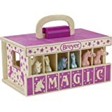 """Breyer Horses Unicorn Magic Wooden Stable Playset with 6 Unicorns   6 Piece Playset   6 Stablemates Unicorns Included   6"""" H"""