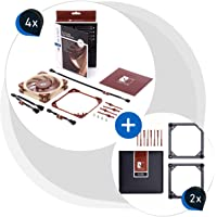 Noctua Bundle: 4X NF-A12x25 PWM, cichy wentylator premium, 4-pinowy (120 mm, brązowy) + 2X NA-SFMA1 ramka adaptera…