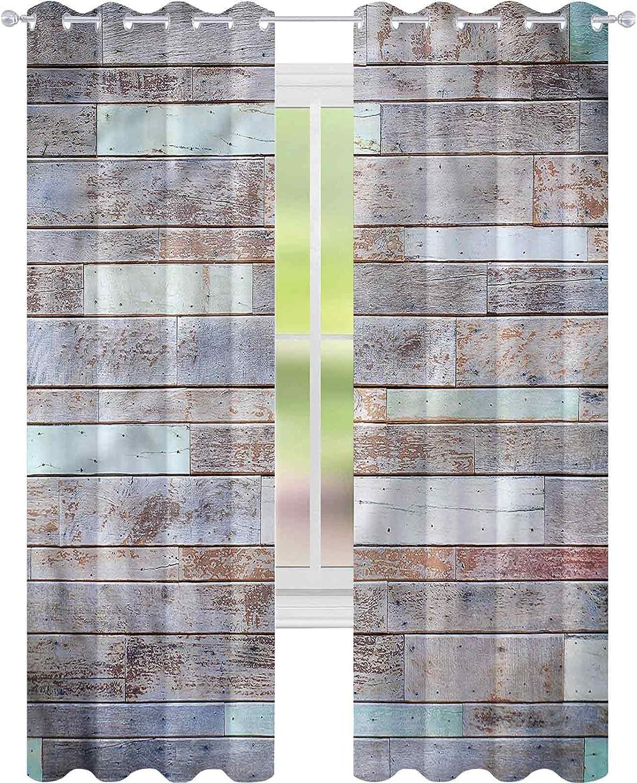 jinguizi Cortina opaca aislante térmico de madera rústica con patrón de pared de cabina W52 x L63 para puerta de cristal
