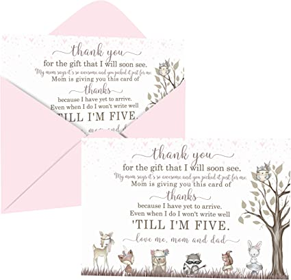 Woodland Thank You Animals Postcards Paper Kit Co 30 Pack Designed to Meet Postcard Specifications Pairs with Matching Woodland Invitations No Envelopes Needed