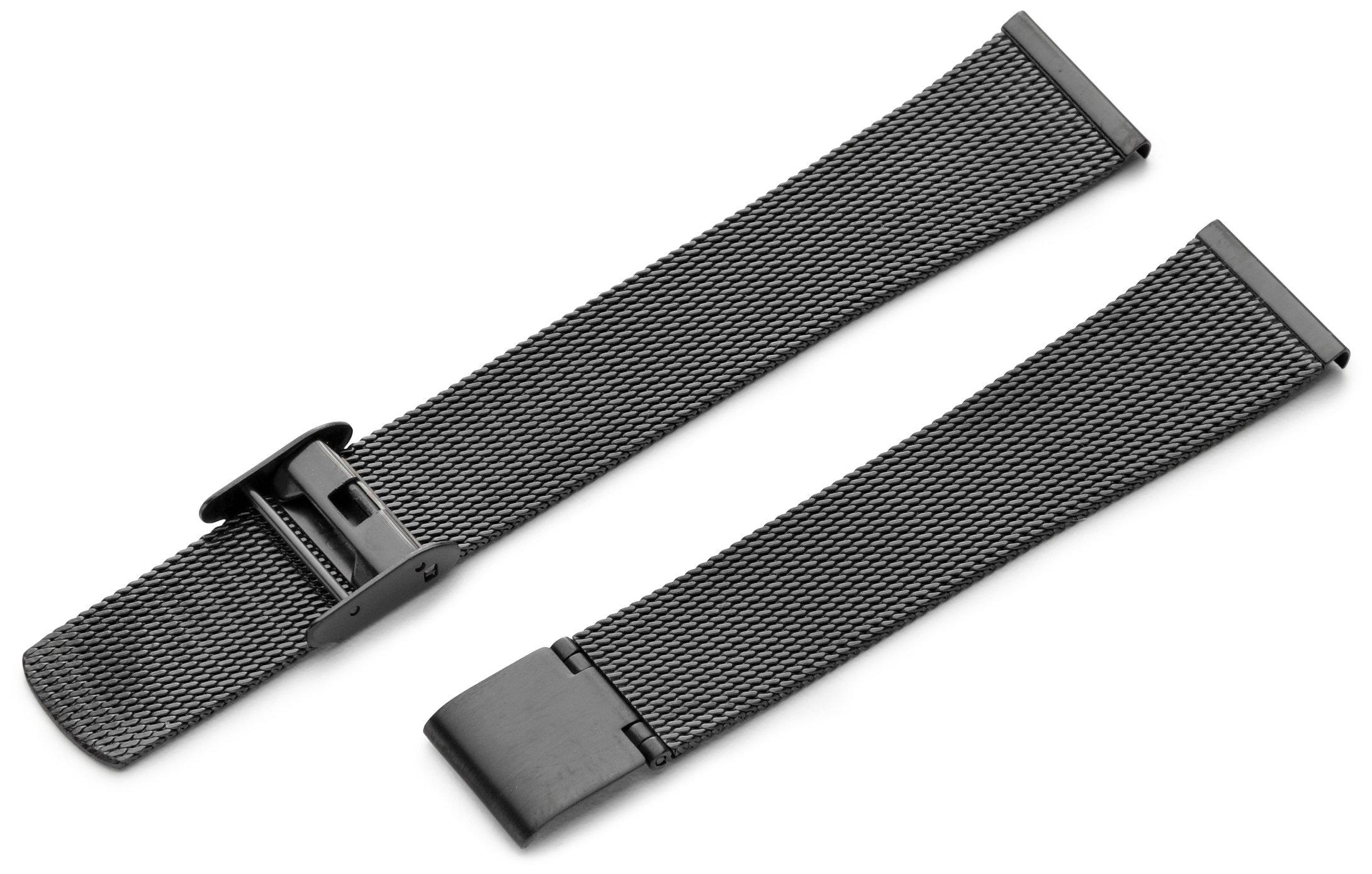 Hadley-Roma Men's MB3808RASE 18 18-mm Black Fine Mesh Stainless Steel Watch Strap