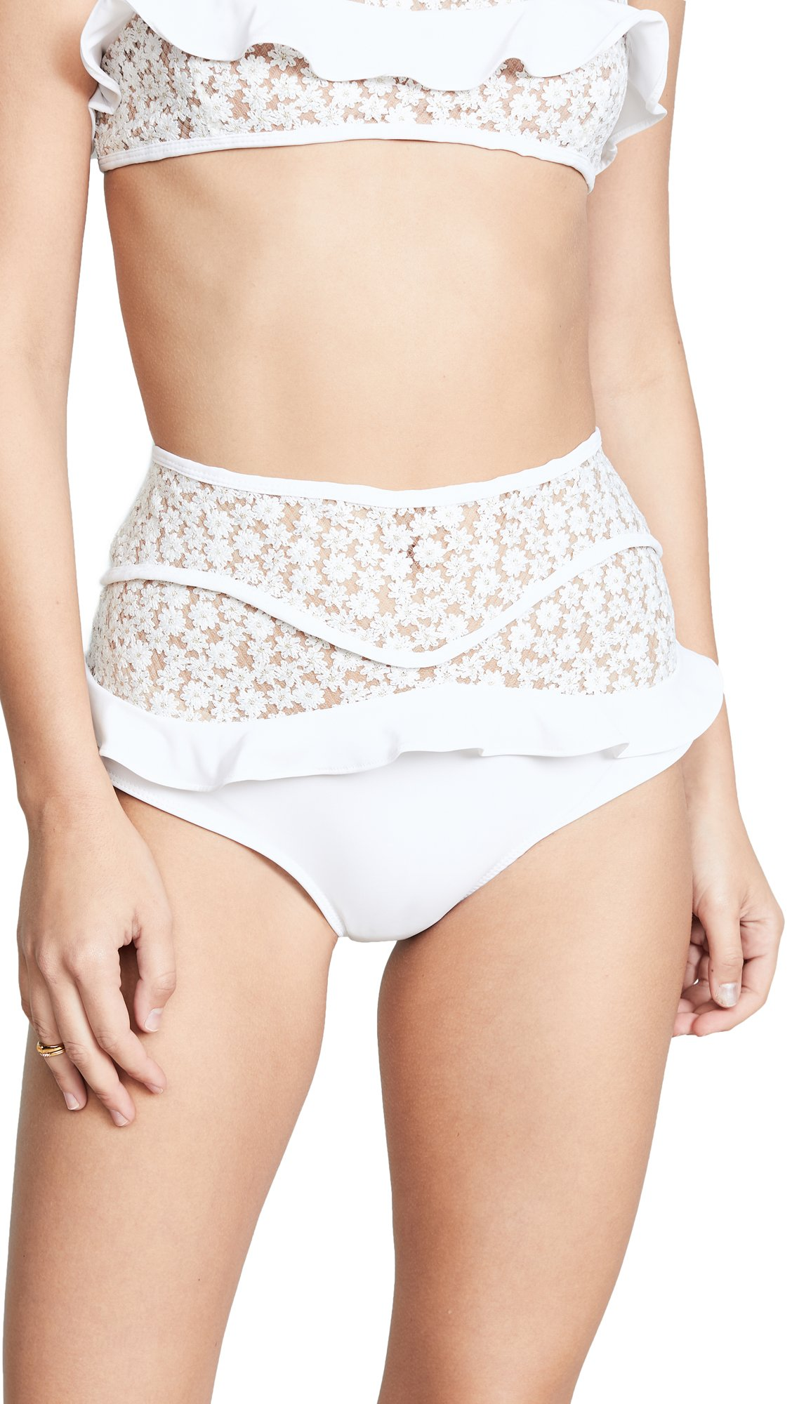 For Love & Lemons Women's Lolita High Waist Swim Bottoms, Ivory, Medium