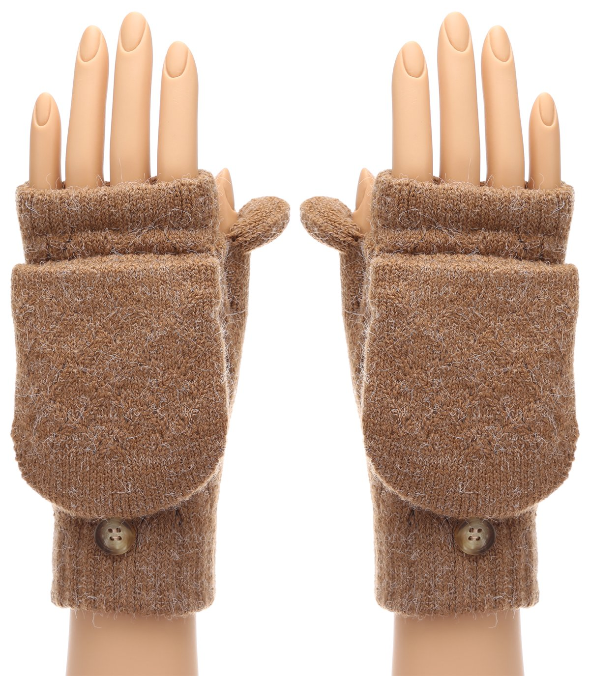 MIRMARU Women's Winter Knitted Fingerless Mitten Gloves with Flip Cover with Faux Fur Lining(602,Camel)