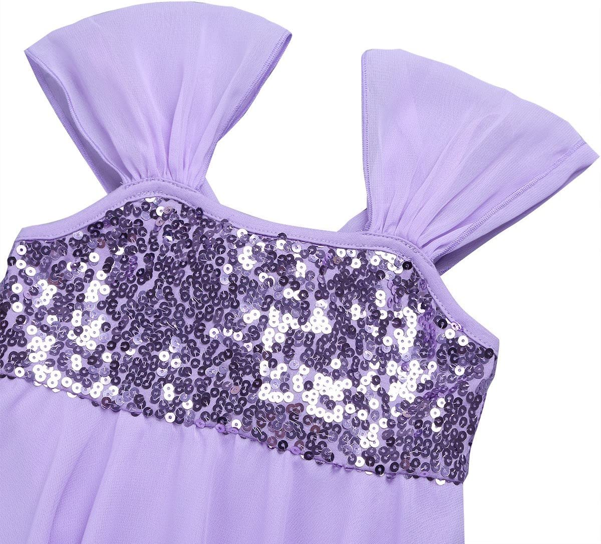 YiZYiF Shiny Sequins Girls Lyrical Dress Irregular Party Contemporary Ballet Modern Stage Dance Costumes