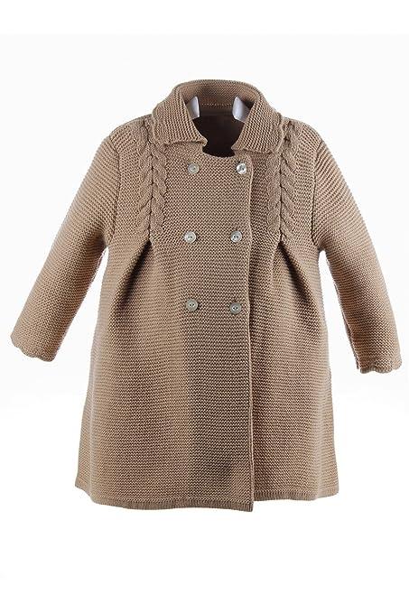 Isabel Maria - Abrigo de lana para niña de punto bobo con ochos y lazo zapatero - 2 años, Camel: Amazon.es: Bebé