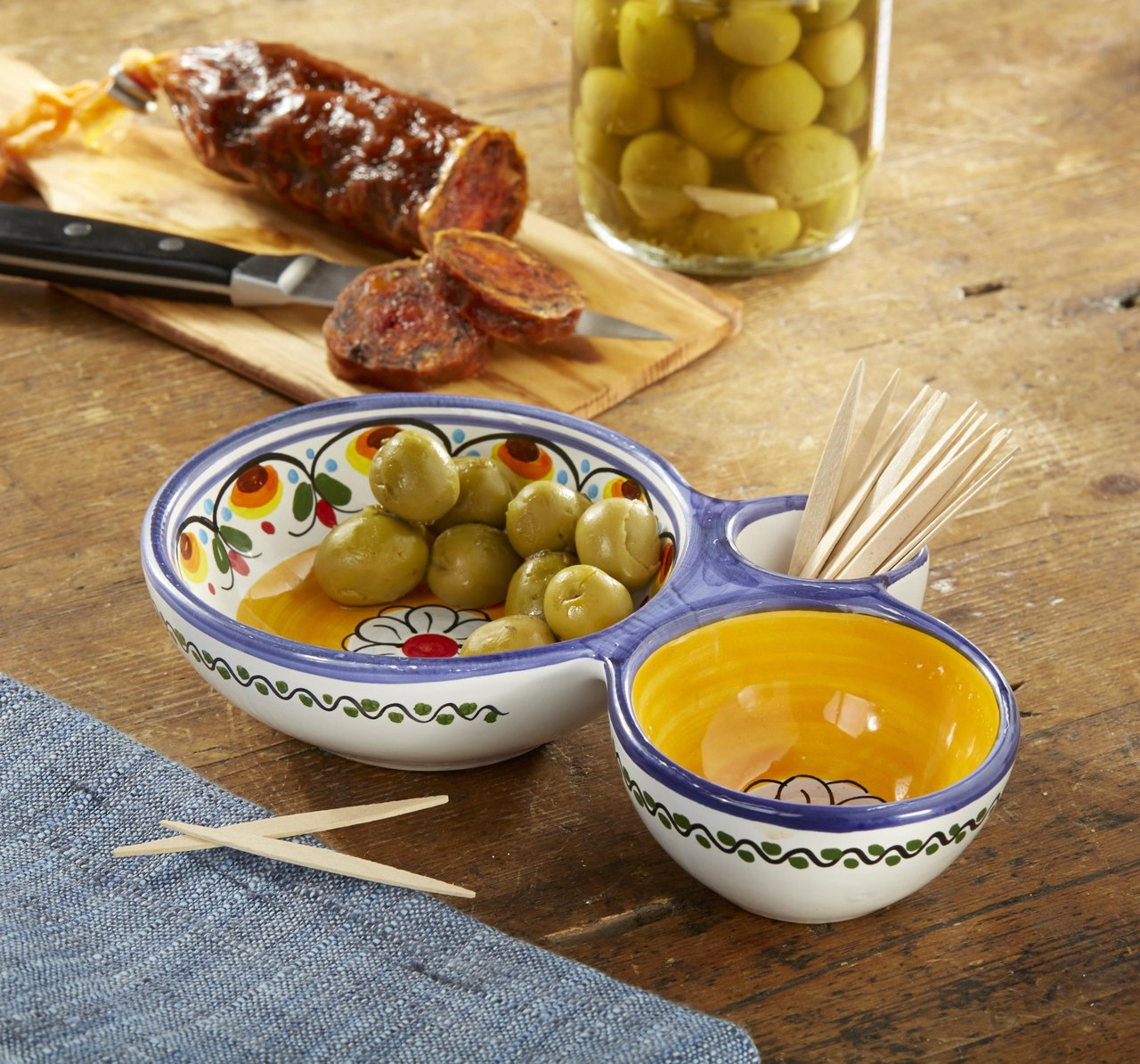 Blue and Yellow Ceramic Olive Dish by La Tienda by Ceramical (Image #2)