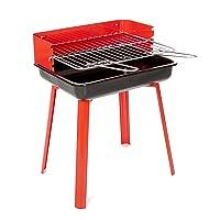 11526 PortaGo Landmann Holzkohlegrill klein rot Balkon Camping Picknick ✔ eckig ✔ tragbar ✔ stehend grillen ✔ Grillen mit Holzkohle