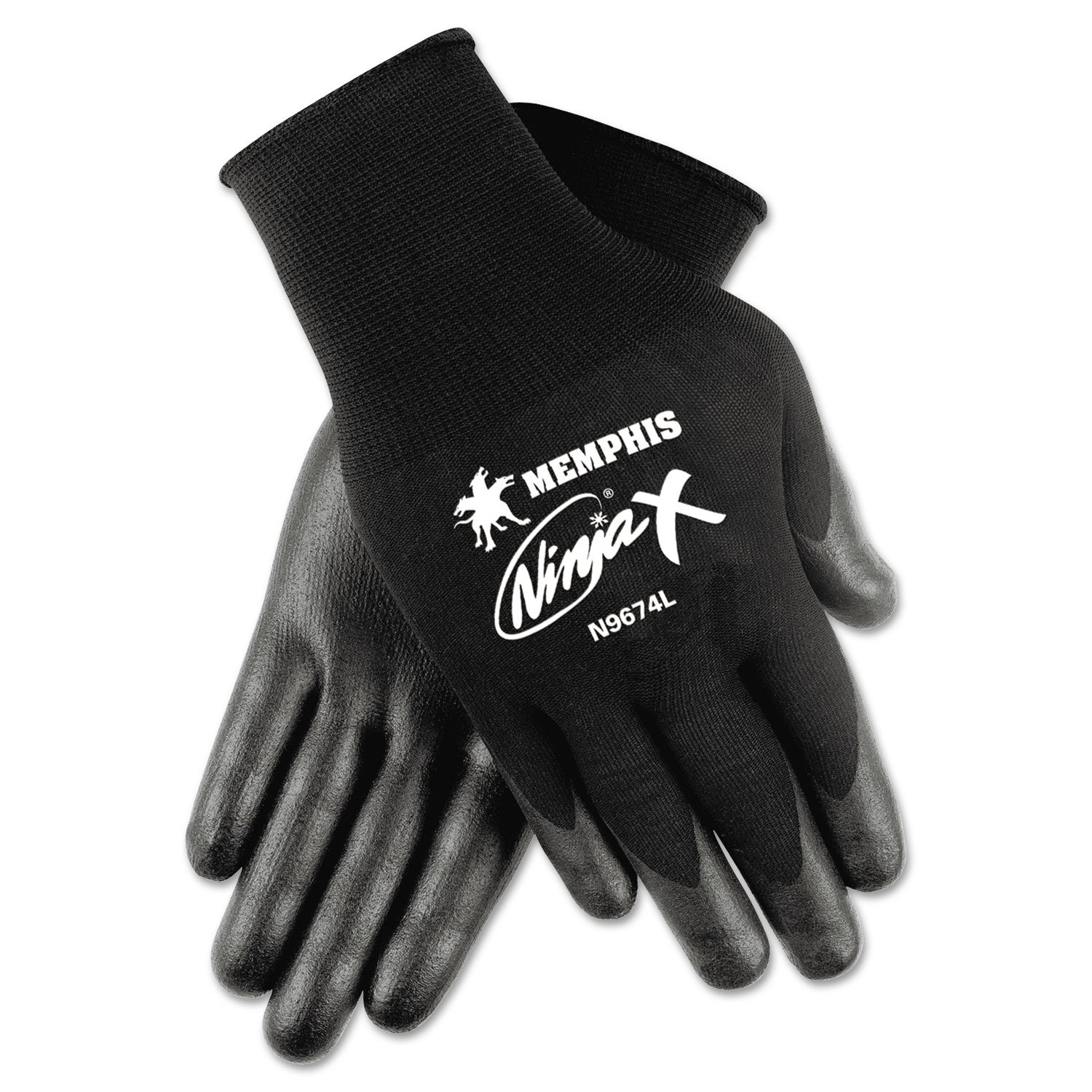 Memphis N9674S Ninja x Bi-Polymer Coated Gloves, Small, Black, Pair by Janitorial Supplies (Image #1)