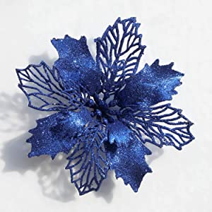 Poinsettia Christmas Decorations Christmas Flowers Glitter Christmas Tree Decorations and Ornaments(12 Pack) (Blue)