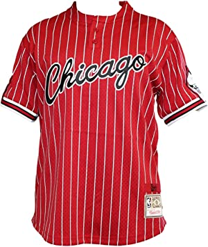 Chicago Bulls Mitchell & Ness Hombres Camisa De Béisbol Jersey de malla Pinstriped – Color Rojo: Amazon.es: Deportes y aire libre