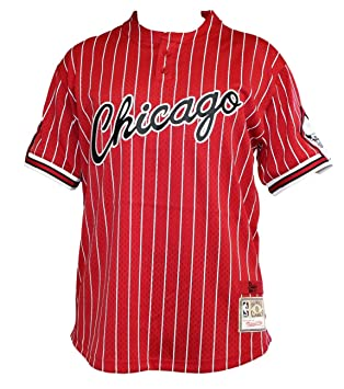 Mitchell & Ness Chicago Bulls Hombres Camisa De Béisbol Jersey de malla Pinstriped – Color Rojo