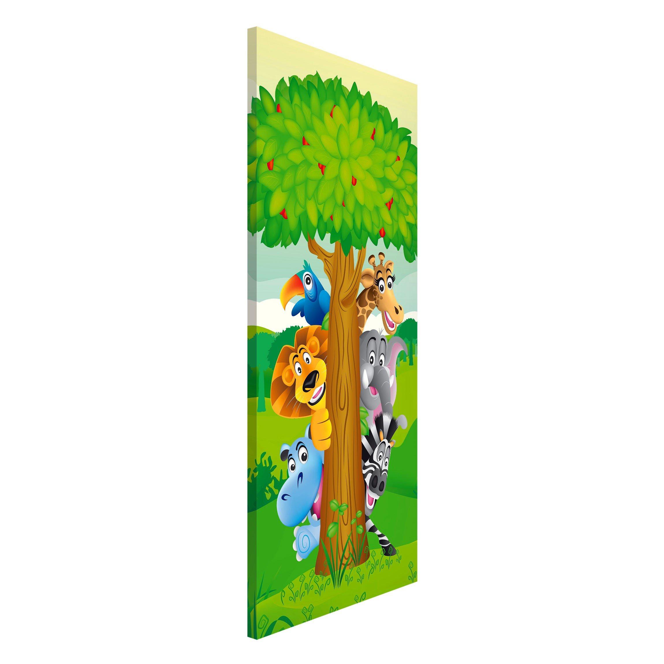 apalis 108649Magnet Board No. Bf1Jungle Animals Design High Metal Magnet Board Wall Steel Kitchen Office Memo Board 78x 37cm