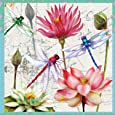 Paperproducts Design 7737 20-Pack Paper Luncheon Napkin, 6.5 by 6.5-Inch, Zanzibar Dragonfly and Flower