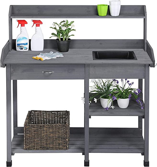 "Topeakmart Potting Benches Tables Garden Potters Work Bench Station Planting Bench Solid Wood Outdoor Gray 45.2 x 17.7 x 47.6"" (L x W x H)"