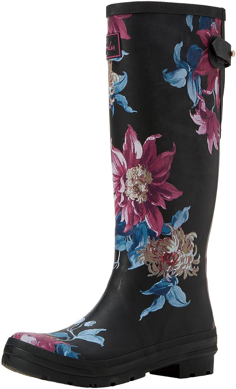 Joules Women's Ajusta Rain Boot B06X6FQL4C 10 B(M) US|Black Clematis