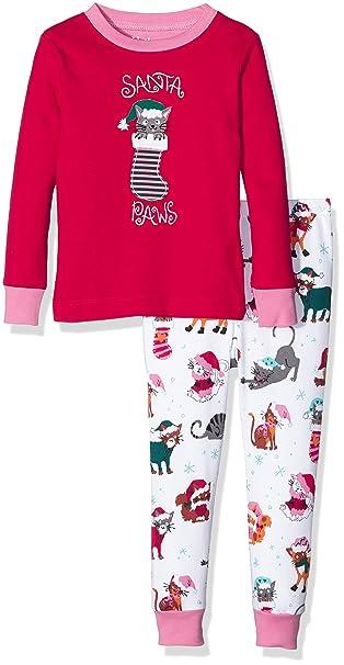 Hatley PJ (App) -Cats-Santa Paws, Pijama para Niños, Rosso