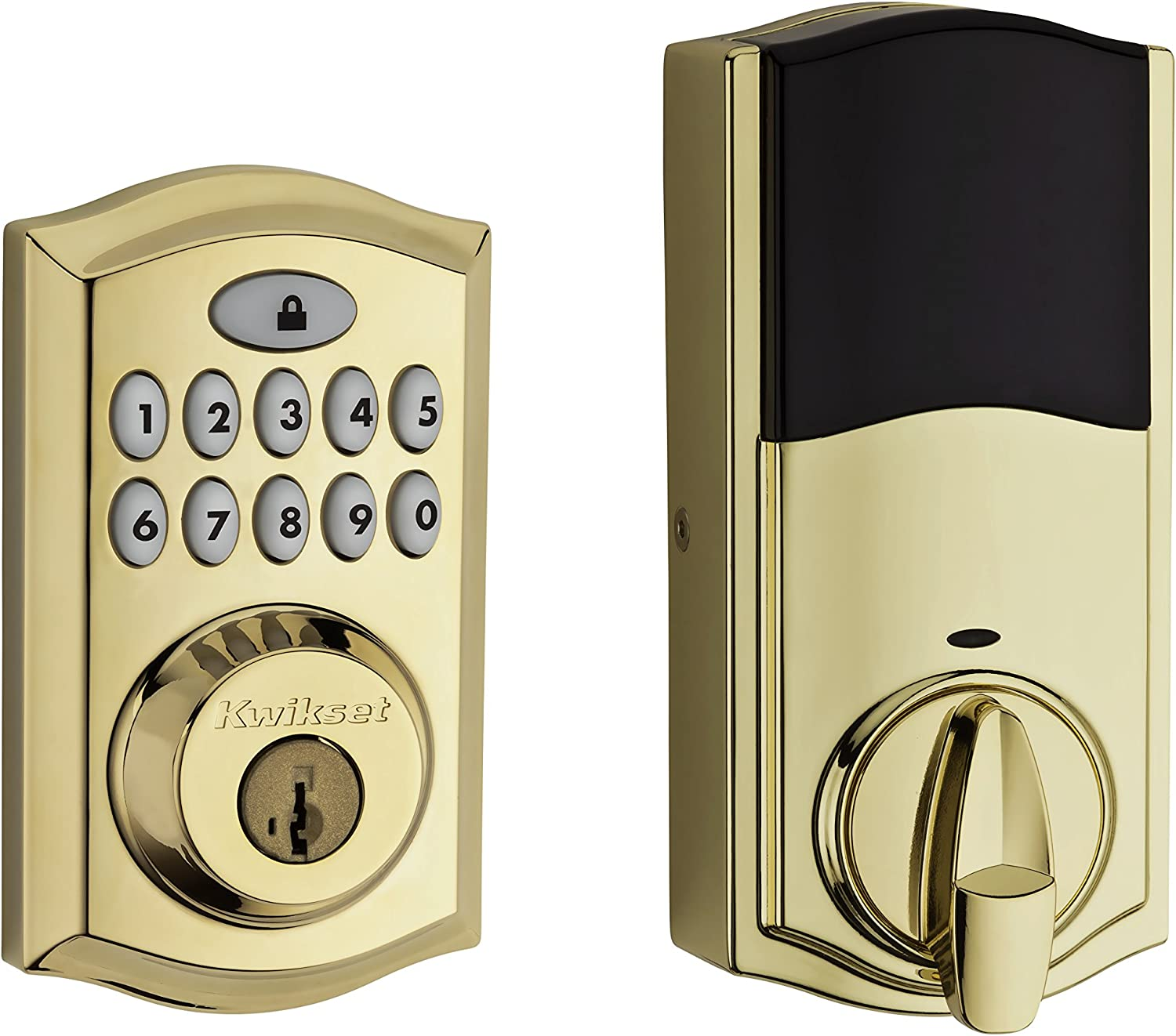 Kwikset 99130-001 SmartCode 913 Non-Connected Keyless Entry Electronic Keypad Deadbolt Door Lock Featuring SmartKey Security, Traditional Polished Brass