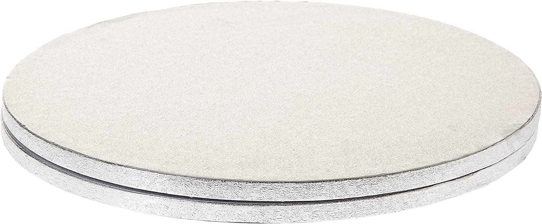Set di 2 Diametro 36 cm Decora Cakeboard Tondo in Cartone Pressato Rigido di Pura Cellulosa Argento