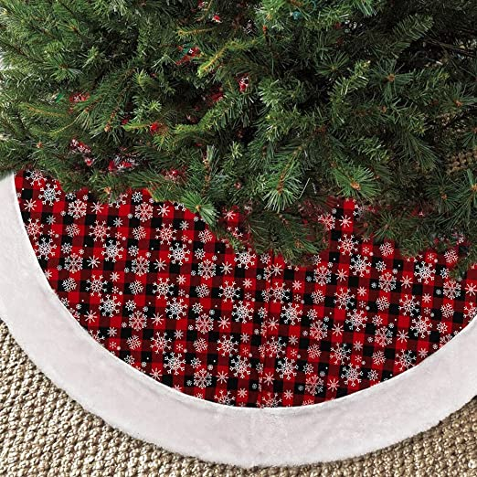 20 IN RED /& BLACK VELORE QUILTED CHRISTMAS MINI TREE SKIRT DECORATION