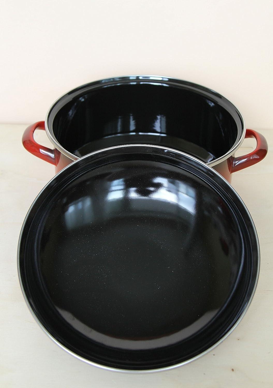 EMA-LION 10 TLG Emaille Kochtopfset mit Schmorpfanne Grande Induktion rot-schwarz
