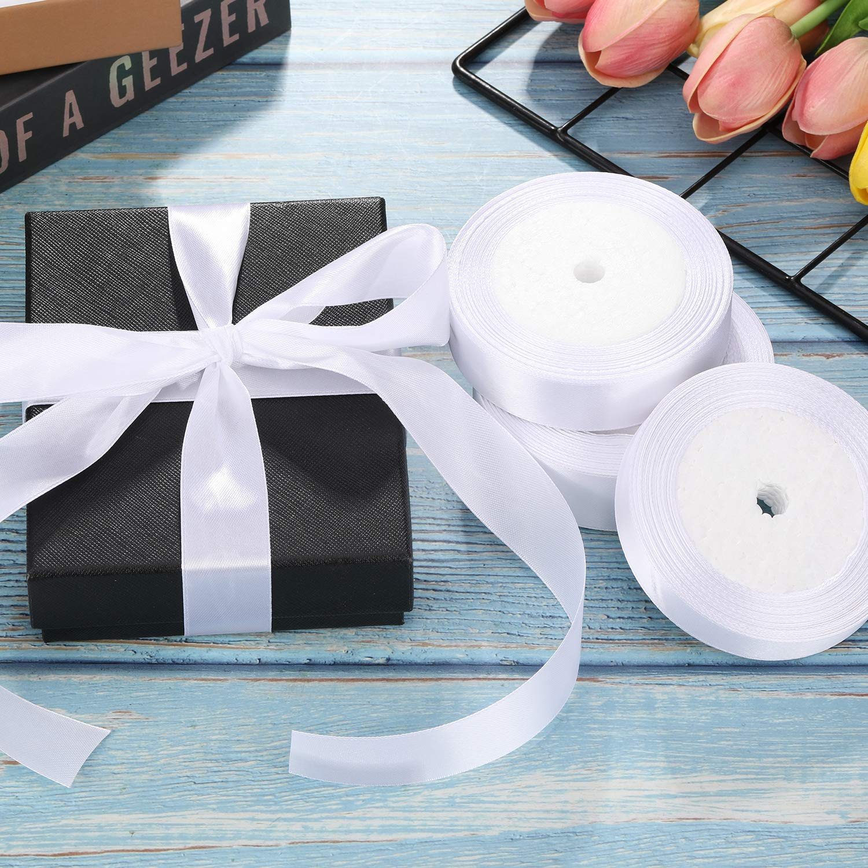 4 Rolls Satin Ribbon Embellishment Ribbon for Crafts Wedding Party Decorations Black 4 Sizes