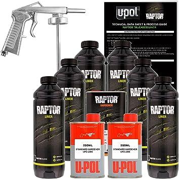 UPOL Raptor *BLACK* Truck Bed Liner 4L Kit Applicator Gun U-POL