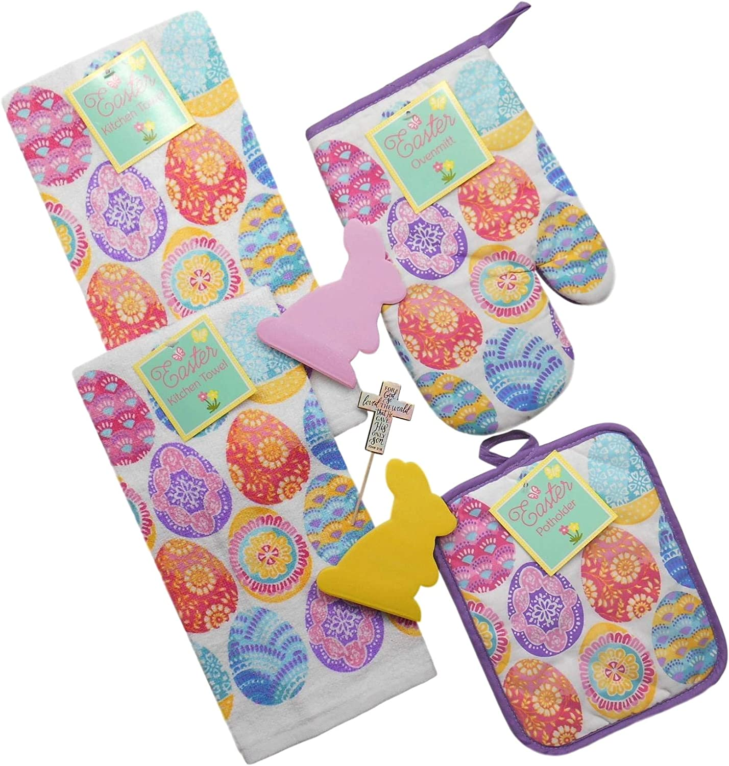 Easter Decorative Eggs Kitchen Dish Towels Set - Includes 2 Towels, 1 Pot Holder, 1 Oven Mitt, 2 Rabbit-Shaped Sticky Notes and a Pastel Cross Pick with John 3:16 Reminder of Season (7 pcs)