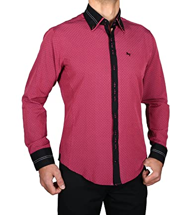 H K Mandel Camisa Especial Slim Fit, en Color Rojo Morado ...