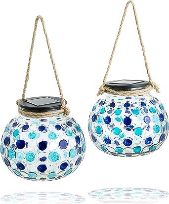 Gadgy ® Set Lampara Solar mesa Azul| USB Recargable | 2 Piezas ...