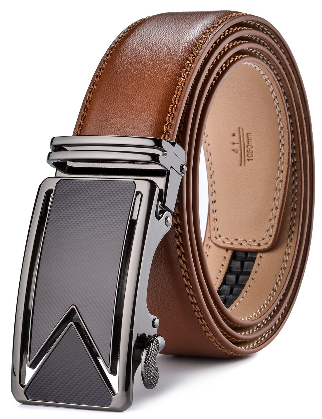 plyesxale Men's Belts Leather Ratchet Dress Belt with Automatic Buckle Gift Box (Tan strap with M buckle, Waist:26-36'')