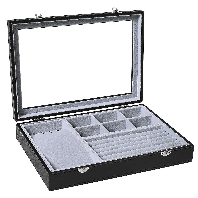 SONGMICS Black Leather Jewelry Box Display Tray Show Case Storage Organizer /w Large Glass Top UJDS306