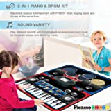 PicassoTiles Portable 2-in-1 Drum Piano Combo Play Mat Educational Musical PlayMat w 8 Musical Instruments, 5pc Drum Set, 10 Demo Song, 24-Key Keyboard, Built-in Speaker, Record and Playback Function