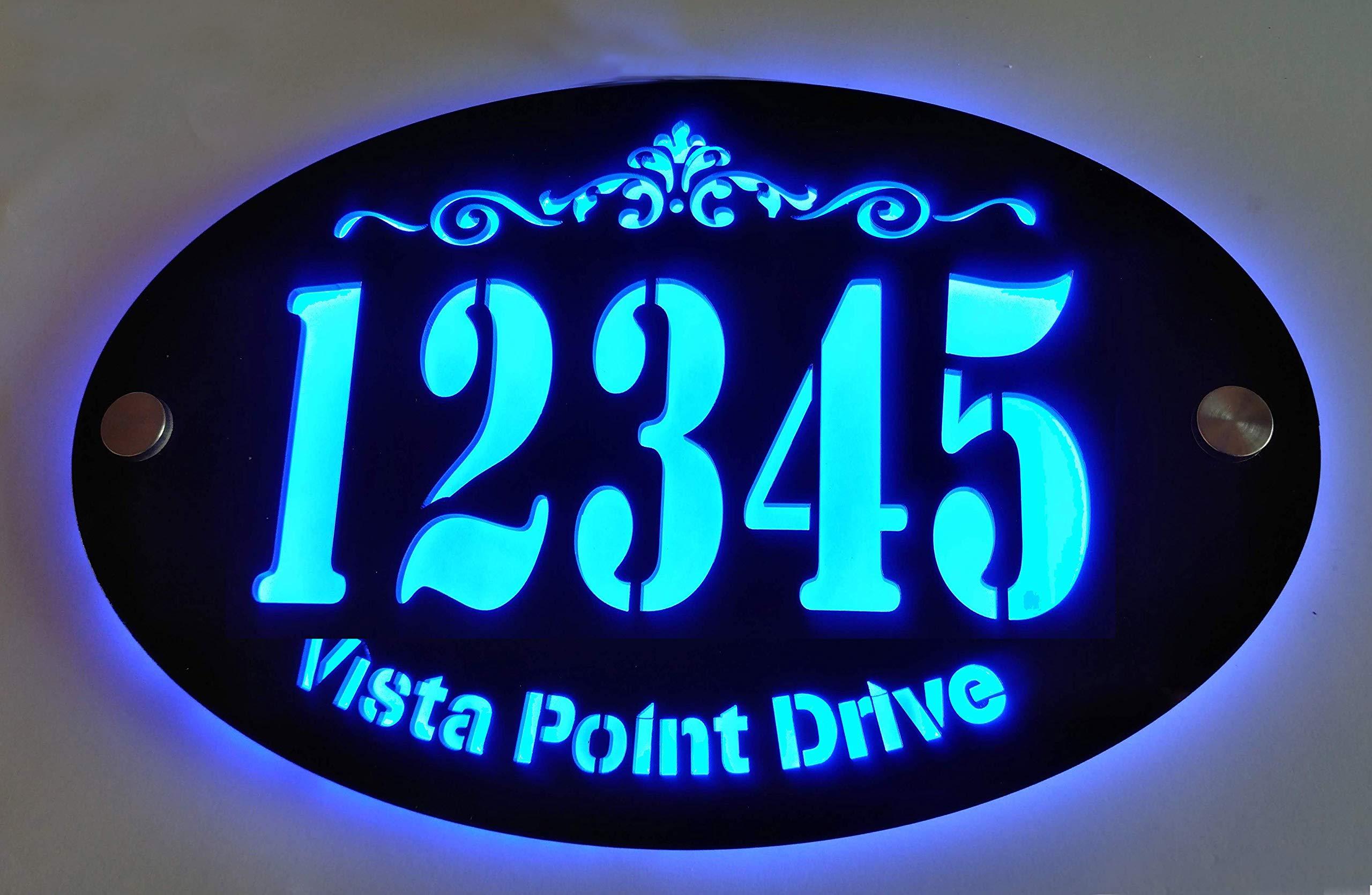 Custom House Address Plaque, LED Illuminated Laser Engraved Acrylic Double-Plates Sign, Premium Quality, Stylish, and Durable (11''x7'' Oval, Blue LED)