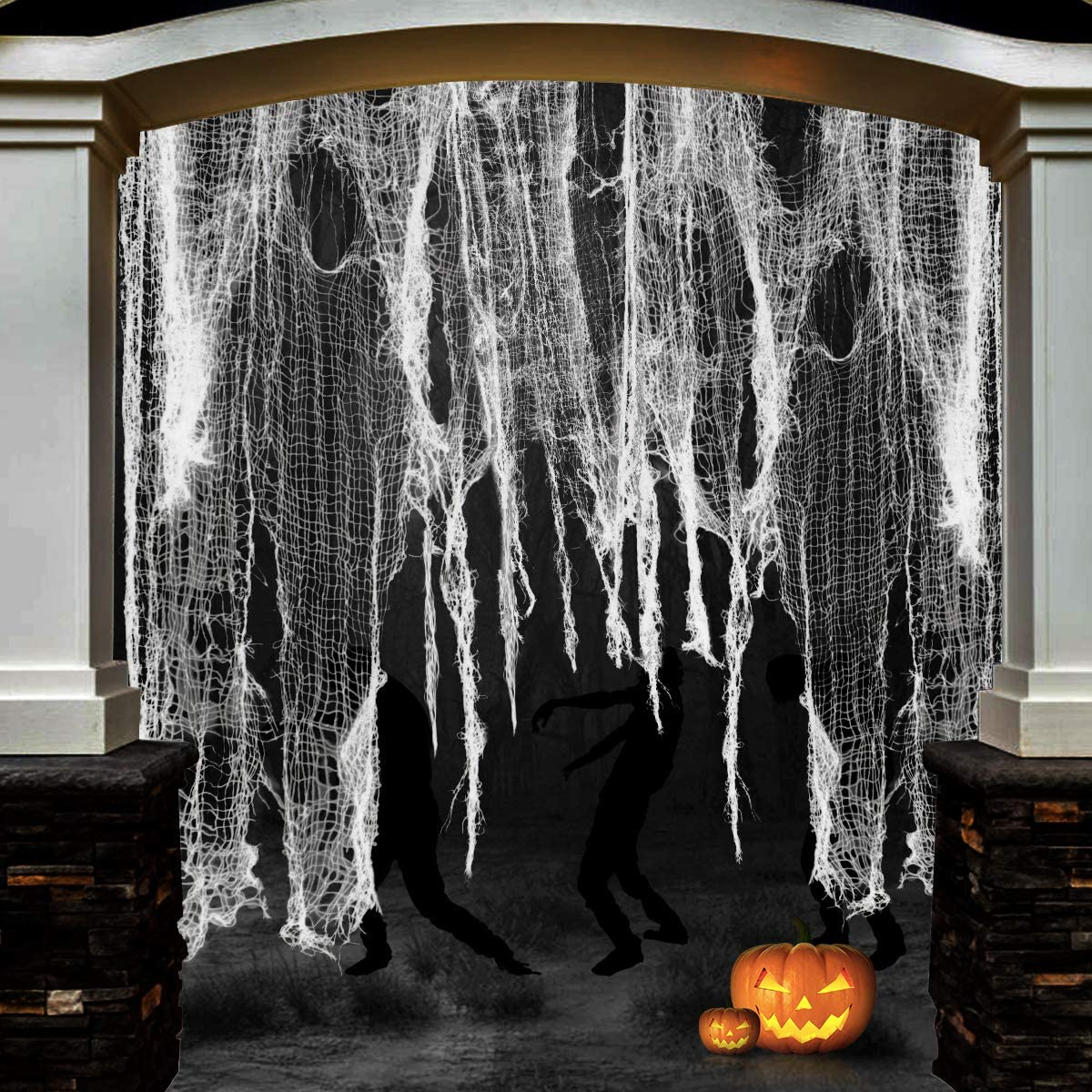Aitey Halloween Creepy Cloth, 480 x 30 Inch Halloween Decor Spooky Drape Doorways Entryways Windows Scary Cover Gauze Halloween Party Decorations & Supplies (White)