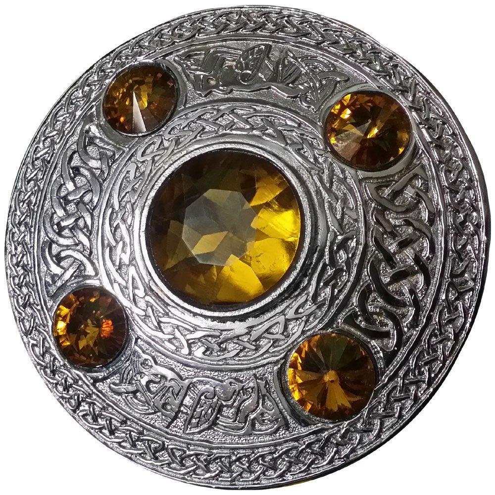 AAR Men's Celtic Kilt Fly Plaid Brooch Yellow 5 Stones Silver 4