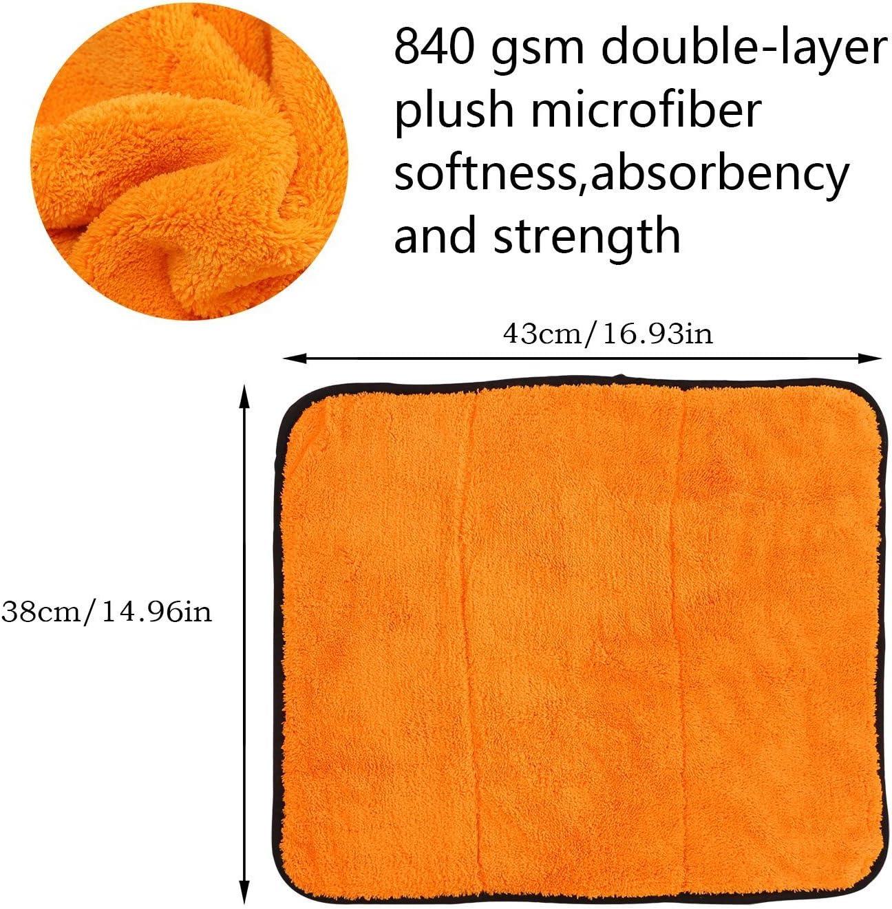 GREFIC Bayeta de Limpieza de Microfibra 840 gsm Doble Capa de Pulido Secado Cera Detailing Pa/ños para Cocina y Coche Limpieza 2 Unidades 38 x 43 cm