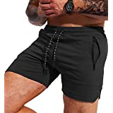 Pudolla Men's Gym Workout Shorts Weightlifting Squatting Shorts for Men Bodybuilding Training Jogger with Zipper Pockets