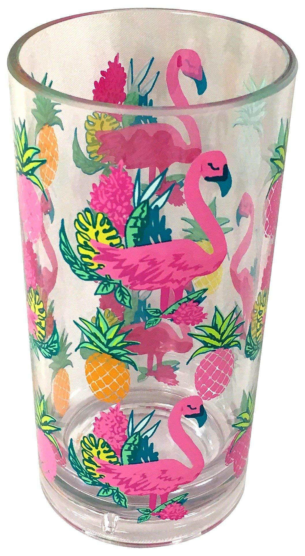 Tropix 19 oz. Pineapple Flamingo Highball Glass One Size Pink/yellow/green