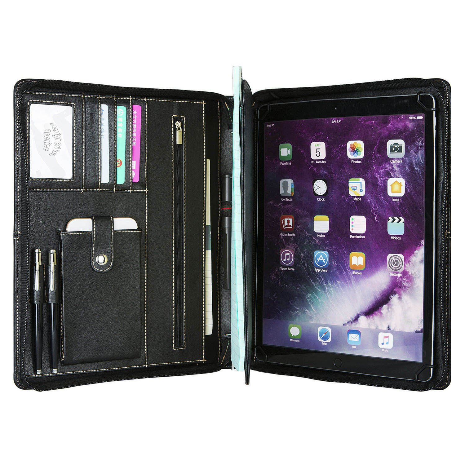 Genuine Leather Portfolio Professional Padfolio Zippered Briefcase for iPad Pro 12.9 inch with Handle, Multi-Function Office Organizer Interview Document Holder Business Folder Black