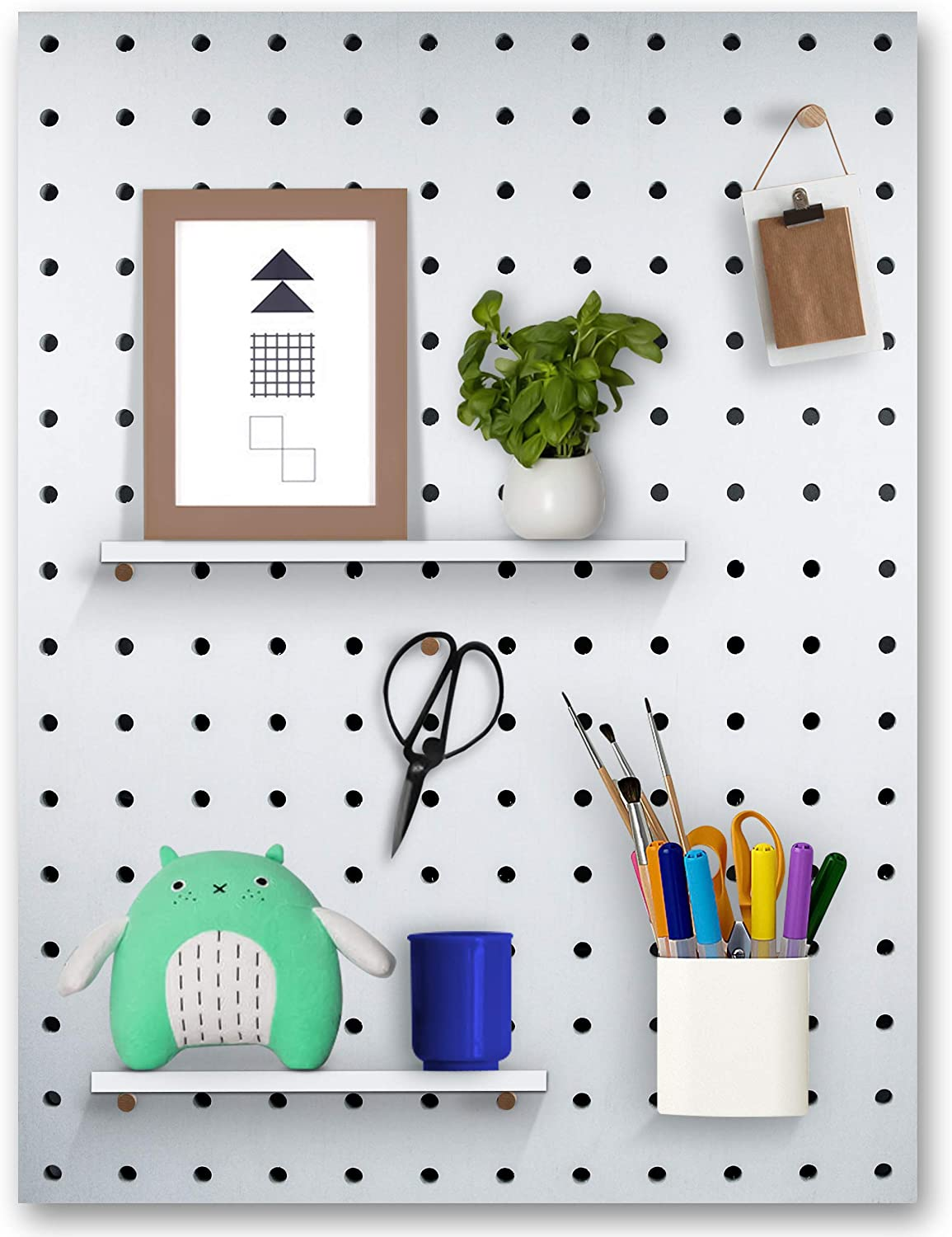 Pegboard Wall Organizer & Home Decor - 24 x 32 Inches, Complete Installation Kit, Multi Functional Wall Storage for Photo Grid, Hanging Items, Plant Pots, and Keeping Home Office Organized