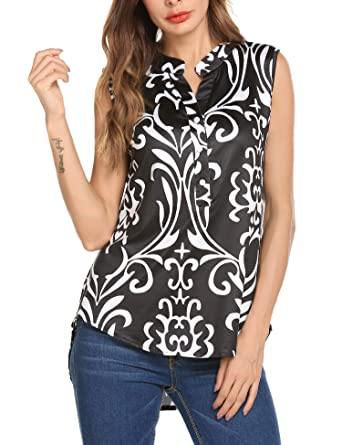 edc4c21179 ZHENWEI Juniors Casual Tunic Shirts Sleeveless Floral Print Pullover Tunic  Blouse Tank Tops BF S