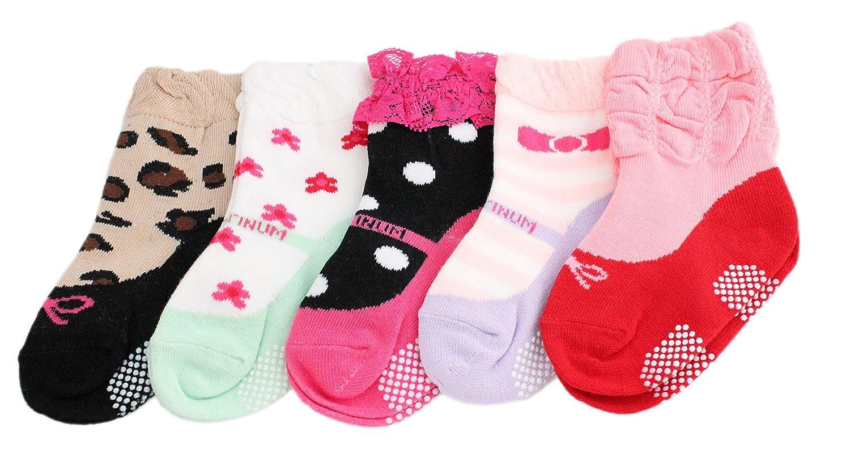 Baby Kids Girls 5-Pack Mary Jane Non-slip Ankle Socks