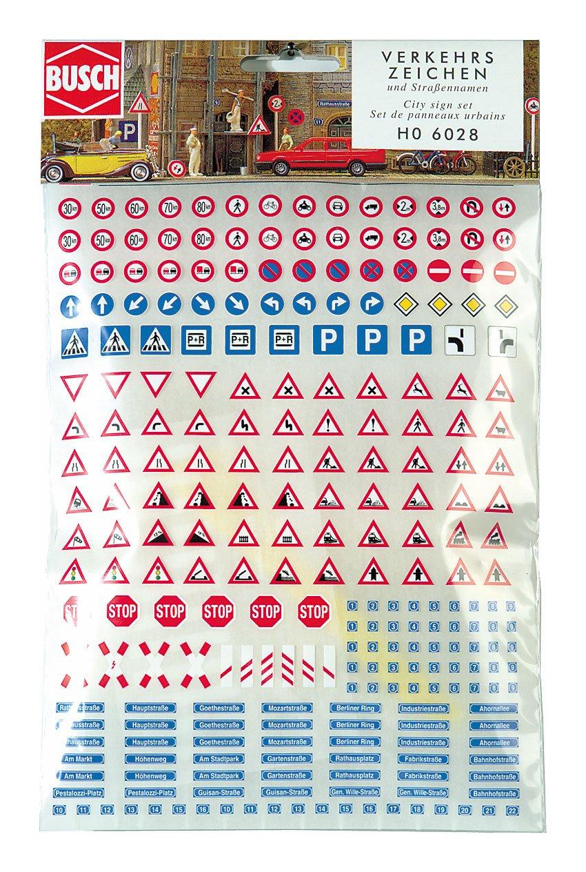 Busch - Segnali stradali adesivi per scala H0 6028